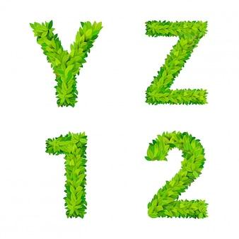 Abc grass deja elementos de número de letra cartel de naturaleza moderna letras frondosas conjunto foliar de hoja caduca. yz 1 2 hojas hojeadas foliadas letras naturales colección de fuentes del alfabeto latino inglés.