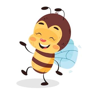 La abeja está bailando en el fondo blanco aislado. ilustración divertida del diseño de carácter de los niños de la abeja.