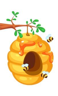 Abeja colmena en dibujos animados de árbol