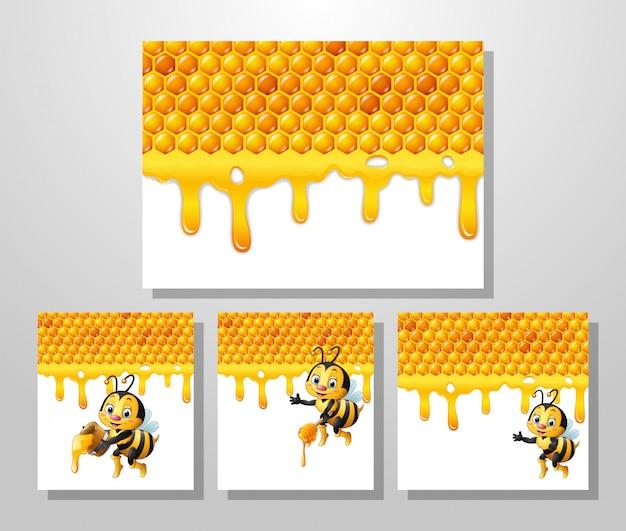 Abeja de dibujos animados con fondo de nido de abeja