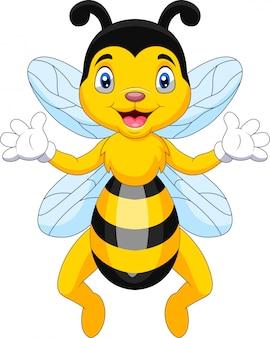 Una abeja de dibujos animados lindo saludando
