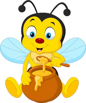 Abeja de dibujos animados con olla de miel