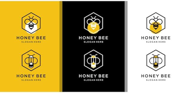 Abeja con diseño de logotipo hexagonal.