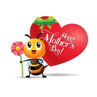 Abeja linda de dibujos animados sosteniendo una gran flor de pie junto a la enorme señalización en forma de corazón