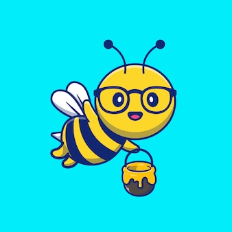 Abeja linda que sostiene el tarro de honey cartoon illustration.