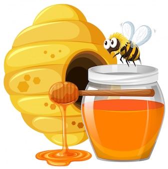 Abeja y miel en tarro