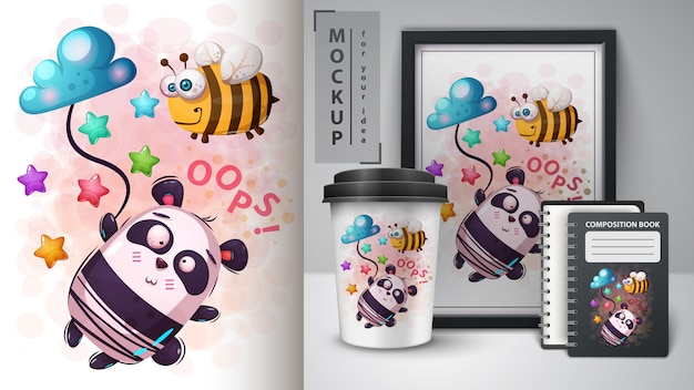 Abeja y panda - movckup para tu idea