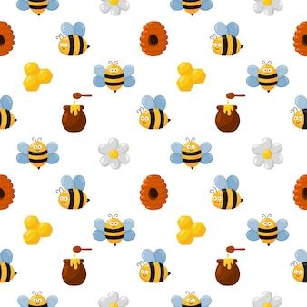 Abeja de patrones sin fisuras y miel aislado