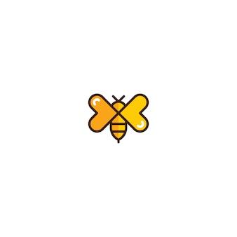 Abeja con plantilla de icono de ala de amor
