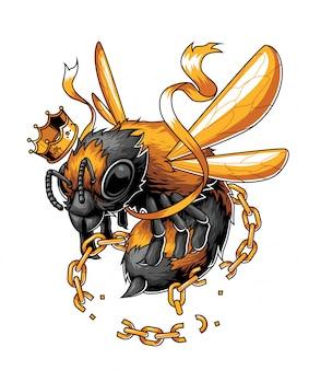 La abeja rey libre de la cadena.