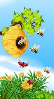 Abejas e insectos volando alrededor de la colmena