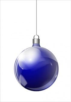 Abeto de navidad y bola de navidad de plata transparente realista