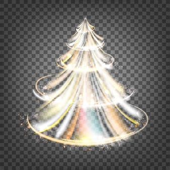 Abeto de navidad con chispas y ondas luminosas.