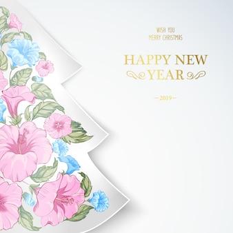 Abeto de navidad con flores tropicales rosas en el interior