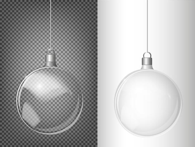 Abeto de navidad de vector y realista bola de navidad de plata transparente