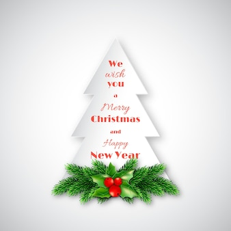 Abeto de papel con ramas de abeto decorativo navideño y acebo. texto de feliz navidad y próspero año nuevo. fondo blanco. ilustración vectorial