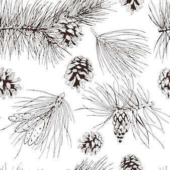 Abeto de pino, árbol de navidad, cedro, picea y conos, patrón, ilustración vectorial