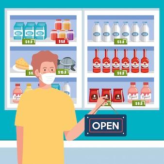 Abierto de nuevo después de la cuarentena, hombre con etiqueta de reapertura de la tienda, estamos abiertos de nuevo, supermercado comprando víveres