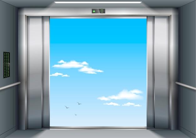 Abierto a la puerta del cielo del edificio del hospital o la oficina del ascensor de carga