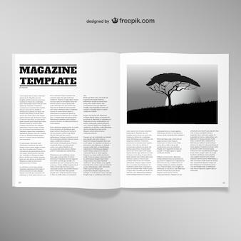 Abierto revista plantilla de página en blanco