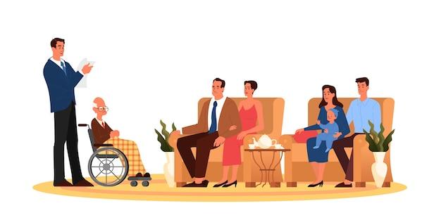 Abogado leyendo el testamento de un anciano a la familia. planificación patrimonial de jubilación, transferencia de propiedad, asesor financiero y concepto de servicios de abogado.