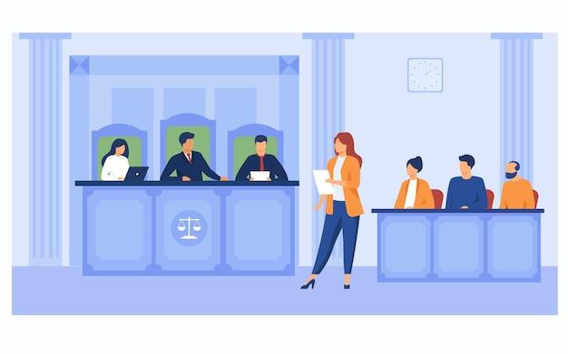 Abogado suplicando en la corte