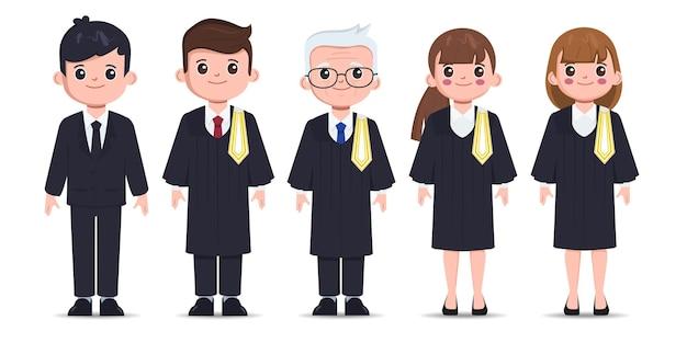 Abogado tailandés conjunto de caracteres de profesiones jurídicas diseño vectorial de abogado de dibujos animados plana