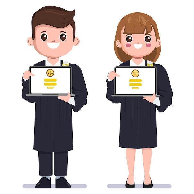 Abogados en línea concepto de dibujos animados de abogado tailandés que presenta la solicitud de asesoramiento legal en línea