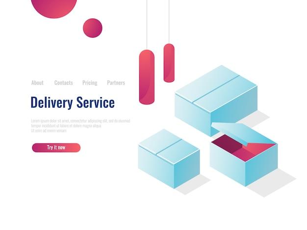 Abra el concepto isométrico de la caja de cartón, el almacén de entrega, el envío del concepto, el empaquetado y el envío