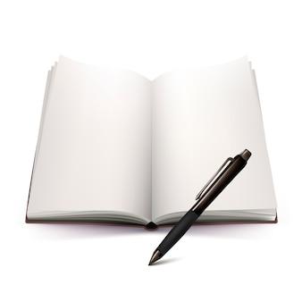Abra el cuaderno y el diseño 3d de la pluma