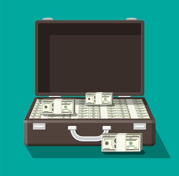 Abra la maleta de cuero llena de dinero.