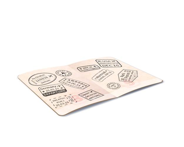 Abra el pasaporte extranjero con muchos sellos de inmigración negros, documento de viaje en perspectiva en blanco