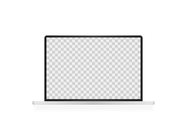 Abra el portátil con pantalla en blanco. maqueta realista de laptop. vista frontal de la pantalla de la computadora.