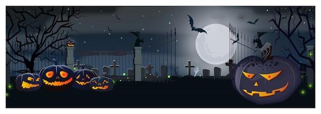 Abra la puerta del cementerio con calabazas y murciélagos en la noche de luna