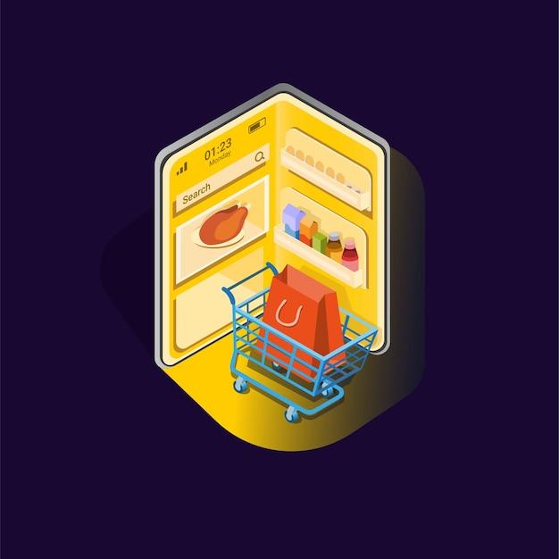 Abra el refrigerador en el teléfono inteligente con el símbolo del carrito de compras para la aplicación de alimentos de la tienda en línea