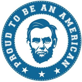 Abraham lincoln etiqueta americana orgullosa