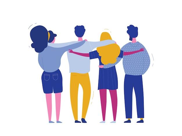 Abrazando a personajes de personas, banner web del día internacional de la solidaridad humana de diversos grupos de amigos de diferentes culturas para la ayuda social, concepto de igualdad global, caridad comunitaria