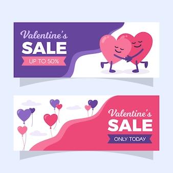 Abrazar corazones banner de venta de san valentín