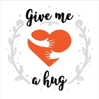 Abrazate a ti mismo dame un abrazo. pincel de caligrafía, texto manuscrito.