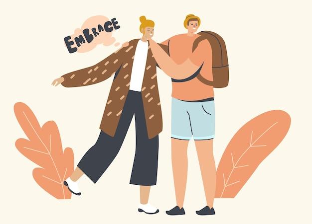 Abrazos, abrazo con el concepto de amigos