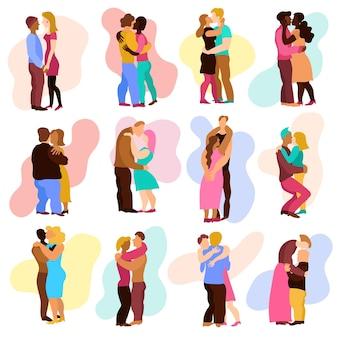 Abrazos de amor con símbolos de relaciones de hombre y mujer plano aislado