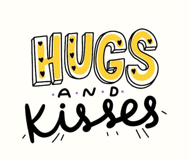 Abrazos y besos doodle banner con lindas letras y corazones dibujados a mano. elemento de diseño de estilo simple para el día mundial de la impresión de camisetas, el amor o la amistad aislado sobre fondo blanco. ilustración vectorial