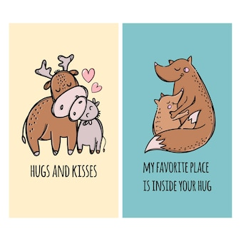 Abrazos y besos a padres ciervos y zorros abrazando a sus hijos. conjunto de ilustración de animales de dibujos animados dibujados a mano