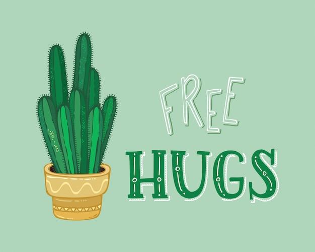 Abrazos gratis. tarjeta de cactus