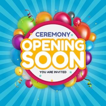 Abriendo pronto tarjeta de invitación ilustración