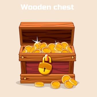 Abrió el cofre del tesoro antiguo con monedas