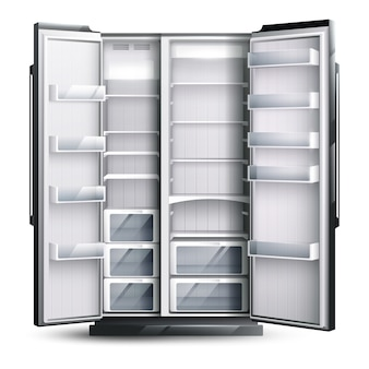 Abrió el refrigerador vacío más ancho