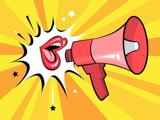Abrir la boca con bocadillo promueve negocios. cartel retro pop art con megáfono y labios femeninos rojos sexy. ilustración