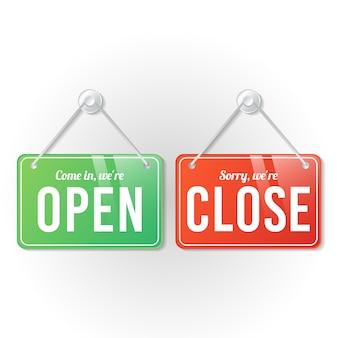 Abrir y cerrar plantilla de letrero de tienda