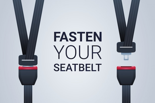 Abroche su cinturón de seguridad póster seguro viaje seguridad primer concepto horizontal plano